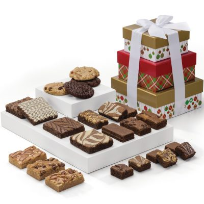 Custom Christmas 3-Box Tower w/Brownies & Cookies (Plaid & Ornaments Gift Box)
